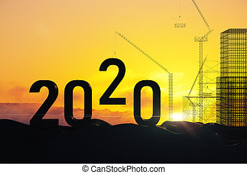 2020 new year text on Crane and building construction ...