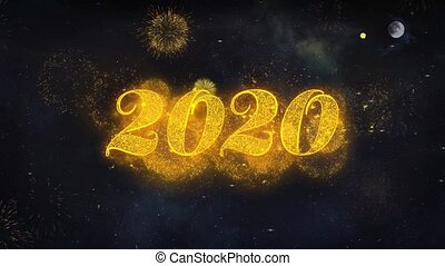 2020 New Year Text Wishes Reveal From Firework Particles...