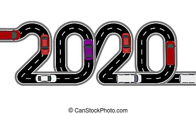 2020 New Year. The road is stylized inscription. Cars and vans. Isolated on white background. illustration