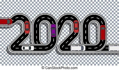 2020 New Year. The road is stylized inscription. Cars and vans. Volume inscription with shadow on transparent background. illustration