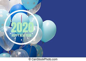 2020 New Year with clock on blue background.