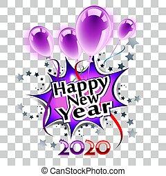 2020, novo, feliz, transparente, ano