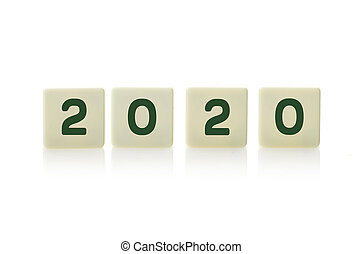 2020 on plastic tile pieces in a row, on a white background.