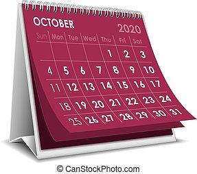 2020, ottobre, calendario
