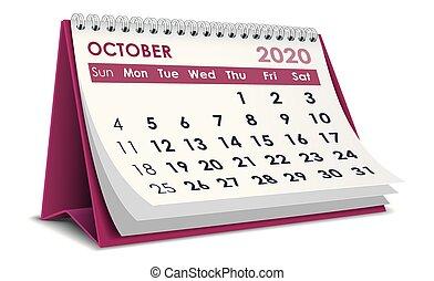 2020, outubro, calendário