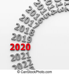 2020 past in the circle represents the new year 2020, three-dimensional rendering, 3D illustration