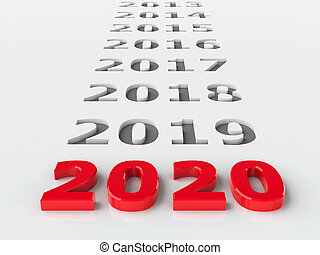 2020 past represents the new year 2020, three-dimensional rendering, 3D illustration