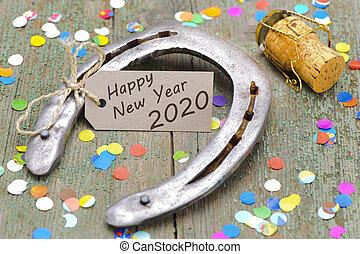 2020, pferd schuh, glücklich, rostiges , jahr, neu
