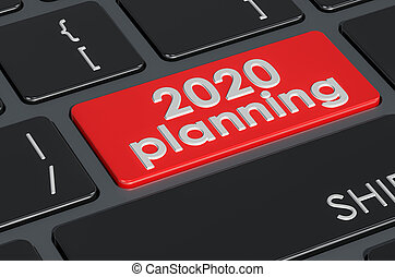 2020 planning button on the keyboard, 3D rendering