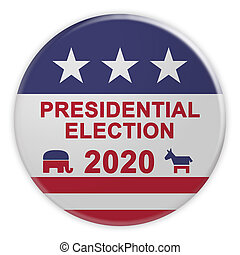 2020 Presidential Election Button With US Flag, 3d illustration On White