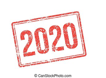 2020 red rubber stamp on white
