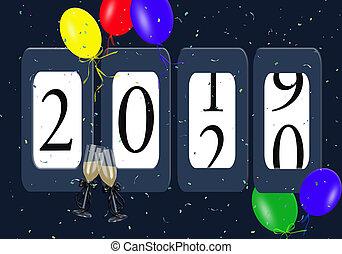 2020, rok, balony, nowy, odometr