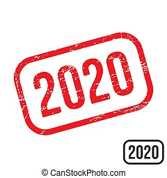2020 rubber stamp with grunge texture vector design