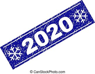 2020 Scratched Rectangle Stamp Seal with Snowflakes