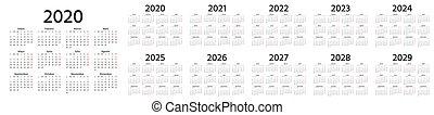 Calendar Spanish 2020, 2021, 2022, 2023, 2024, 2025, 2026, 2027, 2028, 2029 years. Vector. Week starts Monday. Stationery calender template. Yearly organizer in minimal design. Landscape orientation