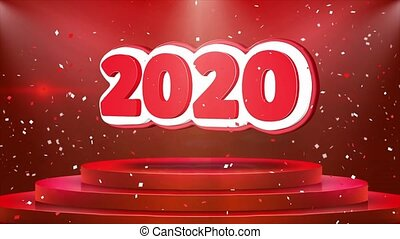 2020 Text Animation on 3d Stage Podium Carpet. Reval Red Curtain With Abstract Foil Confetti Blast, Spotlight, Glitter Sparkles, Loop 4k Animation.