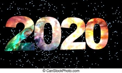 2020 text animation with particles on black background, design beautiful magical space