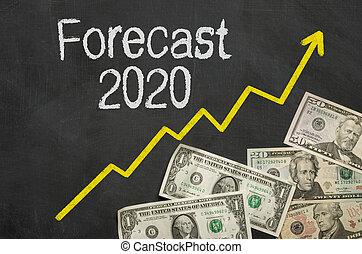 2020, -, text, prognose, tafel, geld