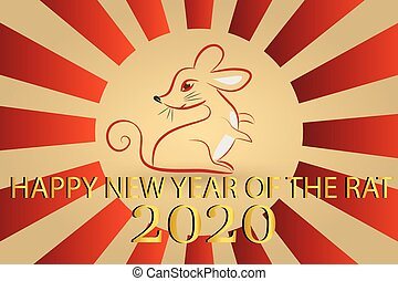 2020 the year of rat symbol icon stylized design vector