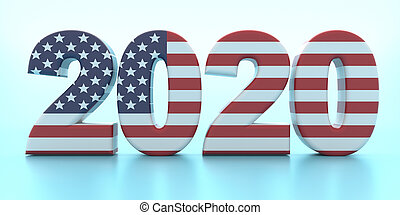 2020 US America election. 2020 number with USA flag colors against pastel blue background. 3d illustration