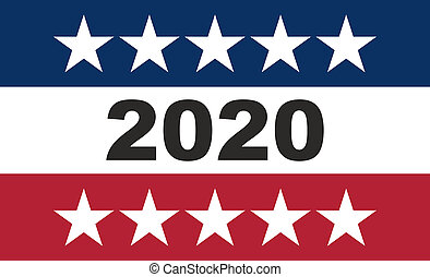 2020 US America election concept, american flag colors with stars background