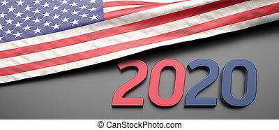 2020 USA, Presidential Election. US flag on black background. 3d illustration