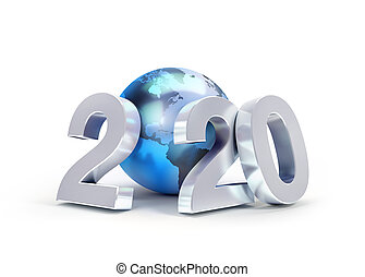 2020 New Year date number composed with a blue planet earth, focused on America, isolated on white - 3D illustration
