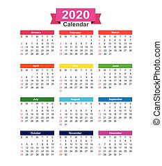 2020  Year calendar isolated on white background vector illustration