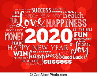 2020 year greeting word cloud collage, Happy New Year celebration greeting card