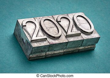 2020 year in vintage, gritty letterpress metal type