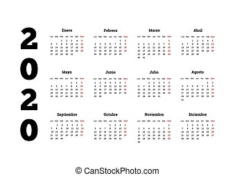 Calendario 2020 A4.Simple Calendar On 2019 Year In Spanish Language 2019 Year