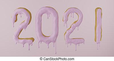2021, ドーナツ, したたり, render, ピンク, 3d, 背景, アイシング