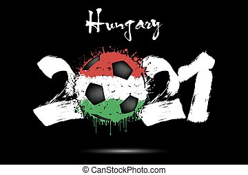 2021 and soccer ball in color of Hungary flag