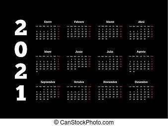 Calendario In Spagnolo.Semplice Calendario 2021 Anno Settimana Semplice Inizi