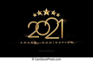 2021 Awarding the nomination ceremony luxury black wavy background with golden glitter sparkles. Vector background EPS10