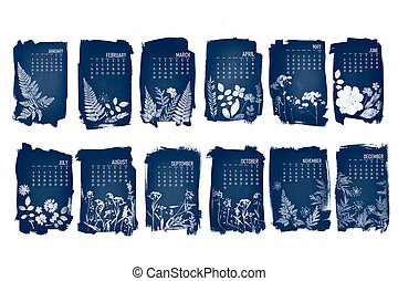 2021 calendar created with cyanotype process with floral leaves. 12 month set