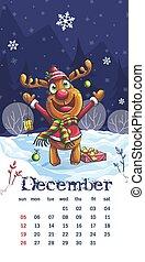 2021 Calendar December the Funny cartoon deer image