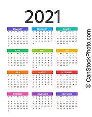 2021 Calendar. Vector illustration. Template year planner...
