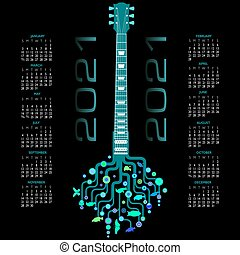 2021 Calendar with a whimsical guitar