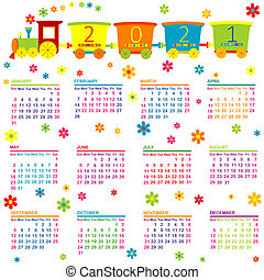 2021 Calendar with toy train and flowers for kids