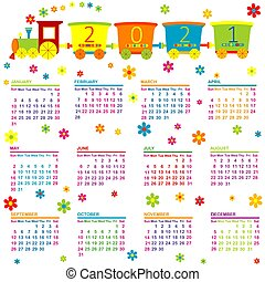 2021 Calendar with toy train and flowers for kids.eps