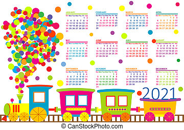 2021 calendar with train toy