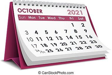 2021, calendario, ottobre