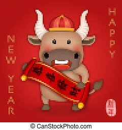 2021 Chinese new year of cute cartoon ox holding scroll reel spring couplet. Chinese translation : New year.