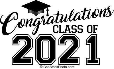 2021, classe, berretto laurea, congratulazioni