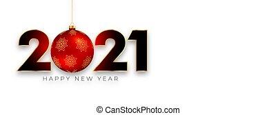 2021, finom, új, chirstmas, labda, transzparens, év