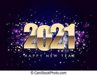 2021 Happy New Year Holiday on dark Background. Illustration