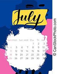 2021, juli, kalender, abstrakt, vektor, engelsk, hæve, hånd