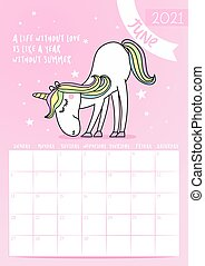 2021 June calendar with calligraphy phrase and unicorn doodle