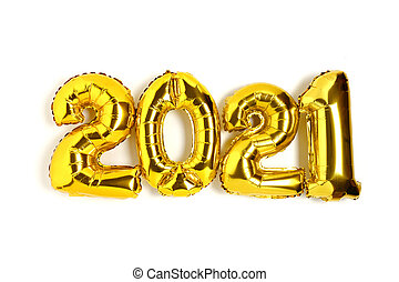 2021 made from golden balloons with isolated on a white.